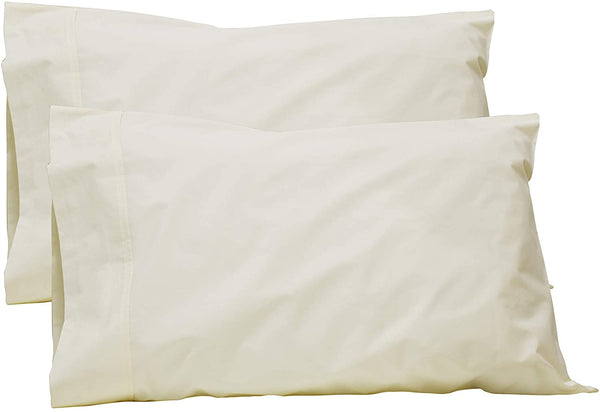 100% Cotton Percale Pillowcases Queen Size, Ivory, 2 Pillowcases, Crisp and Strong Bed Linen