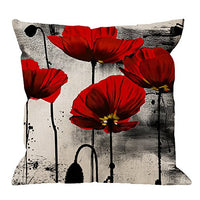 HGOD DESIGNS Poppy Flower Pillow Case,Vintage Red Poppy Flower Cotton Linen Cushion Cover Square Standard Home Ative for Men/Women 18x18 inch Black Red