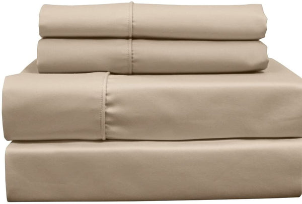 Solid 650-Thread-Count, Cotton-Blend, 22-Inch Super Deep Pocket Queen Bed Sheets Set, Linen