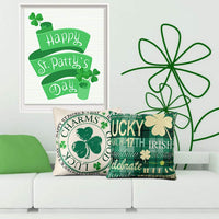 CDWERD 2pcs St. Patrick's Day Pillow Covers St. Patrick's Day Decorations 18x18 Inches Green Shamrock Clover Cotton Linen Cushion Case Farmhouse Throw Pillowcase Home Decor for Couch Sofa Car Office