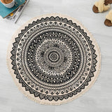 ZMIN Round Cotton Linen Vintage Area Rug, Hand-Knitted Tassels Washable Carpet Living Room Bedroom Bedside Blanket Coffee Table Floor Pad-Black Diameter90cm(35inch)