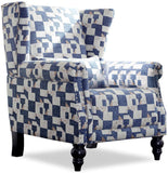 Top Space Accent Chair Sofa with Pine Wood Leg Club Arm Chair Leaf Print Single Sofa Modern Comfy Furniture for Home Living Room,Office,Bedroom, Print (Leaf Blue)
