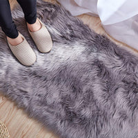 QSSM Luxury Faux Sheepskin Fur Area Rugs, Silky Long Wool Carpet, Shaggy Plush Carpet for Living Room Bedroom, Children Play Dormitory Home Decor Rug(4x6ft, Coffee)