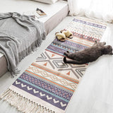 Idealcoldbrew Bohemian Cotton and Linen Area Rug, 2' x 3' Modern Ins Style Outdoor/Indoor Door Mat, Non-Slip Floral Home Decoration for Kitchen, Bathroom, Bedroom, Living Room, Laundry, Porch