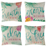 geinne 4pack Summer Plant Flowers Style Throw Pillow Case Vintage Tropical Plants Theme Decorative Square Cotton Linen Cushion Cover for 18 X 18 Inch Pillow Inserts (Summer)