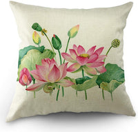 Moslion Lotus Pillows Floral Throw Pillow Cover Watercolor Flower Loquat Leaves Pillow Case 18x18 Inch Accent Pillow Cotton Linen Square Cushion Decorative Cover for Sofa Bed Pink Green