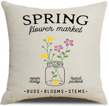 PSDWETS Farmhouse Easter Decoration Spring Flower Market,Carrot Patch,Bunny and Easter Egg Throw Pillow Covers Set of 4 Spring Season in Rustic Home Decor Cotton Linen Cushion Covers 18 x 18 Inches