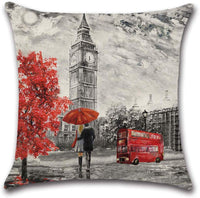 LIYACHAO Valentines Decor Eiffel Tower Big Ben Couples Cotton Linen Pillow Covers 18x18 Inch Set of 4 Valentines Gifts Throw Pillow Case Cushion Cover for Sofa