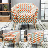 Accent Chairs Modern Armchair Upholstered Linen Fabric Single Sofa Chair Living Room Furniture Stools (Color : Orange)