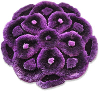 New 3D 4 Layer Flower Shape Soft and Smooth Shaggy Rug 100cmx100cm (716) (Grey)