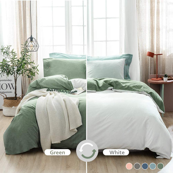 100% Washed Cotton Soft Duvet Cover Set Queen, Reversible White and Mineral Green Solid Color Ruffle Seersucker Casual Design Includes 2 Pillow Cases and 1 Duvet Cover with Zipper & Corner Ties