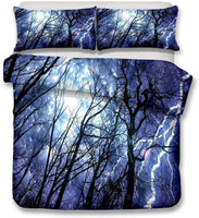 HoYoo 3D Printed Thunderstorm Bedding Set Duvet Cover Sets Three-Piece Bed Linen Bed Sheet Set Pillow Case Twin Queen King Bed Cover (#1,Twin)