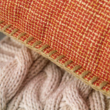 MIULEE Pack of 2 Decorative Throw Pillow Covers Farmhouse Modern Trimmed Cord Linen Burlap Cushion Cases Vintage Decor Pillowcases for Couch Sofa Bedroom 18 x 18 Inch Orange