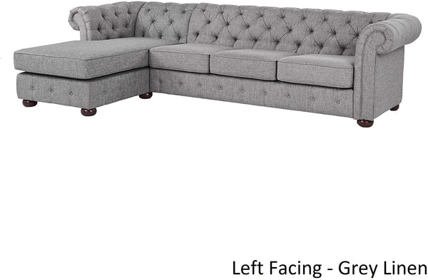 "French Country Style Sectional Sofa - Linen Upholstery Traditional Design, Left Facing L-Shaped Button Tufted Chaise Couch, Grey, Scroll Arms Bun Legs, 114.9"" Wide - Living Room Furniture & Home Decor"