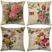 DUSEN Decorative Cotton Linen Set of 4 Throw Pillow Cushion Covers 18 x 18 inch for Sofa, Bench, Bed, Auto Seat (Rose Flower Pattern)