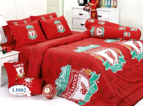 Liverpool Football Club Official Licensed Bedding Set, Bed Sheet, Pillow Case, Bolster Case, Gift Guide, Gift Ideas LV2 (Set A, Twin Size)