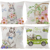 "Guhoo 4 Pack Easter Pillow Case Rabbit Bunnies with Eggs Pillow Cover Spring Cotton Linen Sofa Bed Throw Cushion Cover Decoration 20"" x 20"""