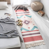 Z&H Linen Cotton Shag Area Rug for Bedroom,Vintage Moroccan Hand-Woven Tassels Carpet Living Room Sofa Bedside Blanket Tatami Floor Mat B 60x180cm+20cmtassel