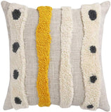 Vanncio Boho Tufted Throw Pillow Cover with Handwoven Stripes, Linen Cotton Simple Decorative Cushion Case for Couch Sofa, 18x18 inches, 1 Set (Yellow Beige)