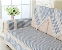 DFCDNA Living Room Multi-Person Seat Linen Sofa Cushion Non-Slip Dustproof Simple Style 3 Piece Set (Color : Gray Small Lattice, Size : Two Person)