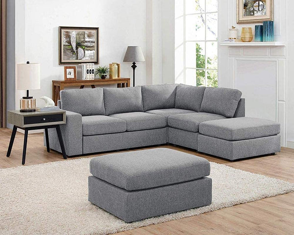 Lilola Home Marta Light Gray Linen 6 Seat Reversible Modular Sectional Sofa with Ottoman
