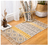 total-shop Bohemian Area Rug, Decorative Cotton Linen Hand Woven Rag Rug Entryway Thin Floor Mat Carpet with Tassel for Living Room Bedroom Bedside Decorative