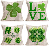 "Easternproject Set of 4 Happy St. Patrick's Day Decor Throw Pillow Covers Cotton Linen Vintage Wood Grain with Love Home Lucky Clover Pillow Case Cushion Cover 18""x18"", Green Ireland National Day Gift"