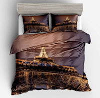 Erosebridal Eiffel Tower Duvet Cover Queen Paris Night Printed Comforter Cover for Kids Teens Brown and Grey Bedding Set with Zipper 3Pieces Cityscape Decor Bedding Quilt Set with 2 Pillow Shams