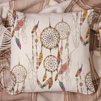 LAMANDA Ethnic Feather Dreamcatcher Throw Pillow Case Cotton Linen Cushion Covers Home Decorative Vintage Tribal Old Dream Catcher Pillowcases for Sofa Couch Bed Car 18x18Inch