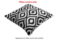 TreeWool Decorative Square Throw Pillowcases Set Ikat Ogee Accent 100% Cotton Cushion Cases Pillow Covers (20 x 20 Inches / 50 x 50 cm; Black & White) - Pack of 2