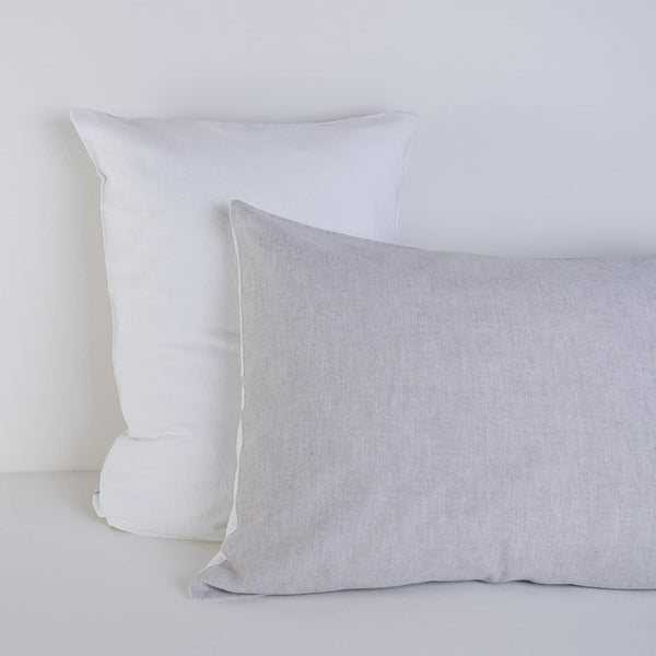 "Organic Linen Pillow Cases Set of 2 - Grey, White, Two-Color - 20"" x 30"" and 20"" x 40"" (Standard and King Sizes) - Washed Linen Blend (King 20""x40"", Grey and White)"