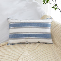 "NATUS WEAVER Navy Pure White Stripe Pillow Cases Soft Linen Square Decorative Throw Cushion Cover Pillowcase with Hidden Zipper for Sofa - 12"" x 20"""