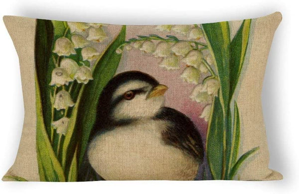 Yilooom Little Bird Vintage Rectangle Decorative Cotton Linen Throw Pillow Case Cushion Cover Lumbar Pillowcase for Couch Sofa Bed 12 X 20 Inches