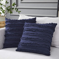 Longhui bedding Navy Blue Throw Pillow Covers for Couch Sofa Bed, Cotton Linen Decorative Pillows Cushion Covers, 20 x 20 inches, Set of 2