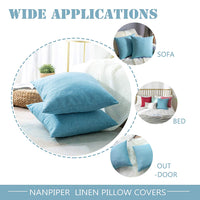 NANPIPER Linen Flax Pillow Cover 20x20 inch 50x50 cm Sky Blue Decorative Linen Cushion Throw Cover Set of 2, Solid Square Throw Pillowcases for Couch Sofa Bed