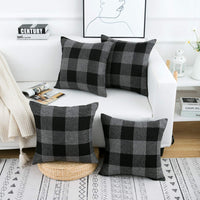 Yumin Decorative Throw Pillow Cases Black Grey Buffalo Checkers Plaids Throw Pillow Covers Cushion Cases Cotton Linen for Couch Bed Sofa Home Decor 18x18 Inch Set of 4