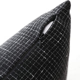 "Kevin Textile Classic Simple Cotton Linen Cushion Cover Checkered Pillow Case for Sofa/Bedroom/Living Room, 2Pc, 20""x20"", Black"
