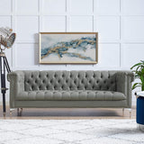 Oxford PU Leather Button Tufted Sofa with Silver Nailhead Trim and Y-leg, Grey