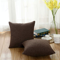 Sunday Praise Cotton-Linen Decorative Throw Pillow Covers,Classical Square Solid Color Pillow Cases,20x20 Inches Cushion Covers for Sofa Couch Bed&Car,Pack of 2 (Brown)