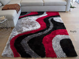 8'x10' Feet Size 3D Carved Pattern Fuzzy Furry Plush Contemporary Braided Shag Shaggy Bedroom Living Room Modern Hand Woven Polyester Made Area Rug Carpet Rug Red Black Gray Grey Colors