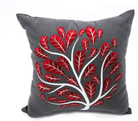 KainKain Peacock Tree Embroidered Pillow Cover, Grey Red Decorative Cushion Cover, Floral Cotton Linen Bed Pillow, Botanical Pillow for Couch Sofa, Handmade Throw Pillow (18 inch x 18 inch)