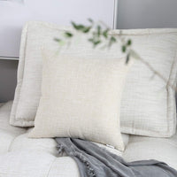 "Kevin Textile Christmas Decor Lined Linen Pillow Cover Euro Throw Pillowcase Cushion Cover Pillow Sham for Sofa, Hidden Zipper, 18""x18""(2 Pieces, Natural Linen)"