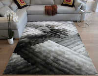 LA Rug Linens Shag Shaggy 3D Plush Indoor Bedroom Living Room Light Silver Dark Silver Light Gray Dark Gray Charcoal Area Rug Carpet Rug 8'x10' Feet Modern Contemporary Decorative Designer Hand Woven