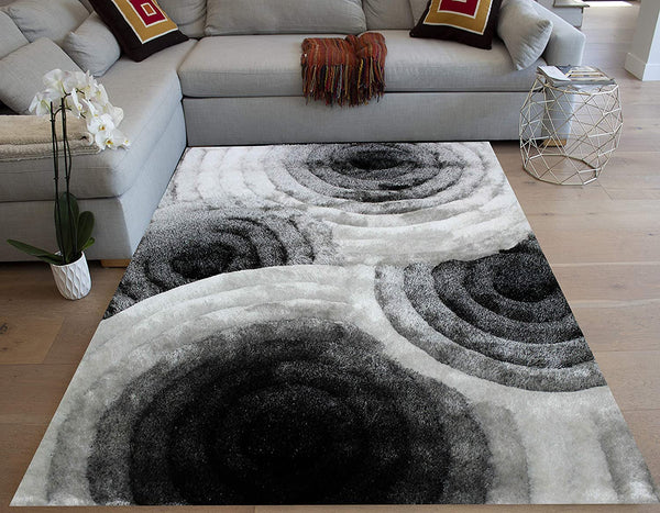 White Black White Colors 8'x10' Feet Area Rug Carpet Rug Rectangular Deep Pile Fluffy Modern Canvas Backing Shag Shaggy Floor Fluffy Fuzzy Indoor Hand Woven Bedroom Living Room Polyester Made