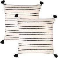 Woven Nook Decorative Throw Pillow Euro Size Covers ONLY Set of 2 24 x 24'' for Couch, Sofa, or Bed Modern Quality Design 100% Thick Weave Cotton Black and Cream/Off White Demi