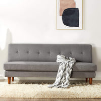 Modern Armless Loveseat/Sofa Couch Tufted Linen Fabric Classic Grey - Solid