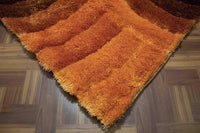 8'x10' Feet Dark Orange Light Orange Rust Brown Soft Area Rug Carpet Rug Living Room Bedroom Decorative Designer Shag Shaggy Hand Woven Carved Large Rectangular Furry Modern Contemporary