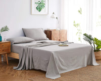 DAPU Pure Linen Sheets Set 100% French Natural Linen European Flax (King, Natural Linen, Flat, Fitted and 2 Pillowcases