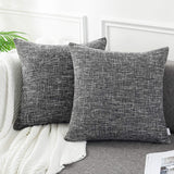 AmHoo Cotton Linen Throw Pillow Cover Double Side Tone Woven Square Cushion Covers Pillowcase for Couch Sofa Bed,2 Pack,20 x 20 Inches,Black