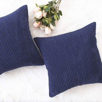 Home Brilliant Striped Textured Velvet Corduroy Decorative Europe Sham Throw Pillow Cushion Cover for Couch, Navy Blue, (66x66 cm, 26inch)